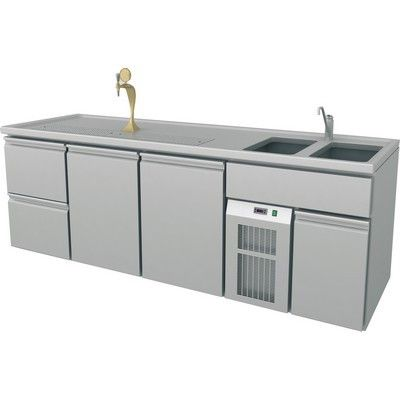 Serving Counter, 2 Sinks Right, 2545x700x900mm, 2 Doors, 2 Drawers