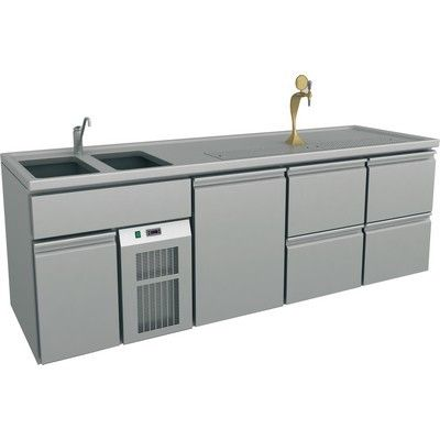 Serving Counter, 2 Sinks Left, 2545x700x900mm, 4 Drawers