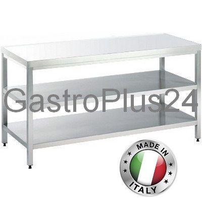 Arbeitstisch mit 2 Böden, B x T x H: 2800 x 700 x 850 mm, TOP-Line