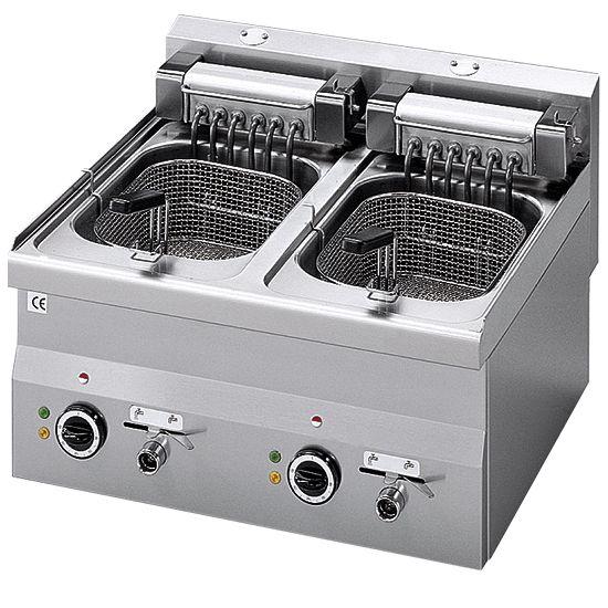 Elektro-Fritteuse, Tischmodell, 10+10 Liter, 600x600x280mm