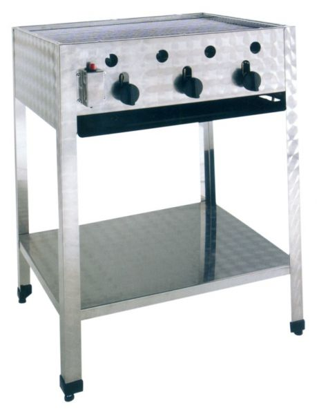Gas-powered commercial outdoor grill, free-standing Unit, 3 Heating Coils