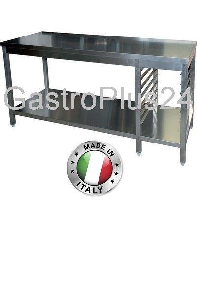 Arbeitstisch mit Auflagegestell für 6x GN 1/1, BxTxH:2200x800x850mm