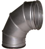 Bogen 90° Ø 200 mm Stahlblechrohr, verzinkt