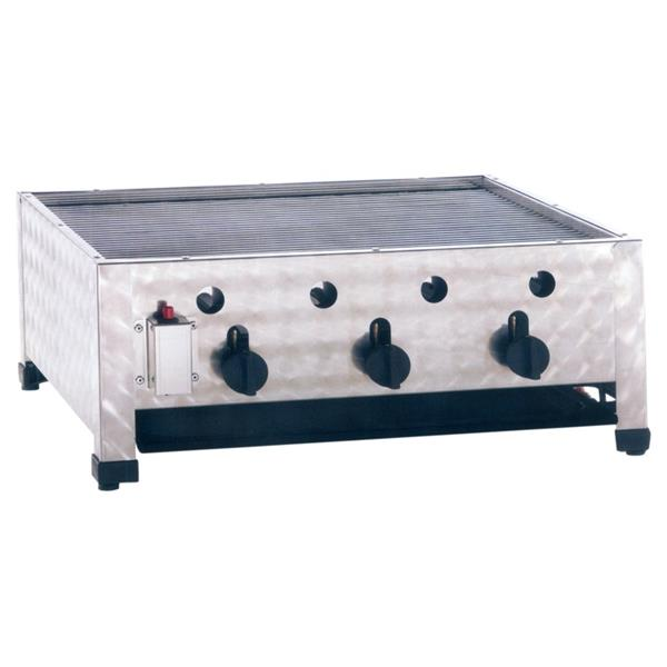 Gas-powered commercial outdoor grill, tabletop Unit, 3 Heating Coils