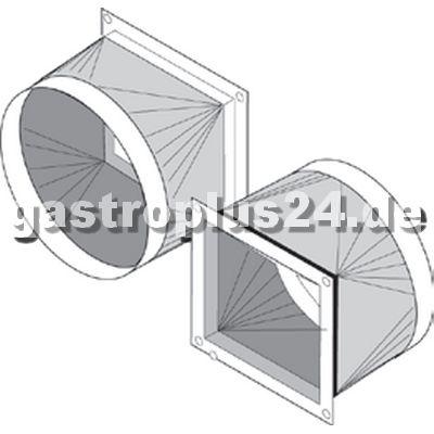 Transition piece with flange 20 mm, angular / round 190x162mm