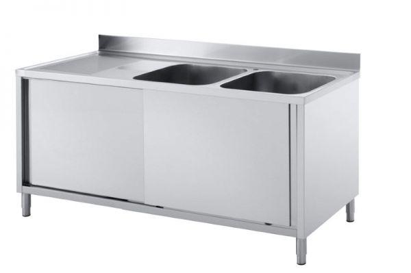 Spülschrank 1400 x 700 x 850 mm, 2 Becken rechts